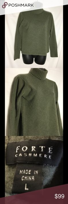 Forte cashmere sweater sage green large Oso soft cuddly sweater size large. Bust laid flat armpit to armpit 19 inches. Sleeves shoulder seem to end of cuff 23 inches. length 21 1/2 inches. Go with everything you did sage green Forte Sweaters Cowl & Turtlenecks