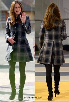"""Countess of Strathearn in UK's Moloh for Glasgow Events. Kate's navy and grey tartan """"Workers Coat"""" is 100% wool made by Moloh, a UK label. She completed the outfit with her Aquatalia Rhumba boots, black suede clutch and diamond and sapphire earrings. April 2013. #wkw"""