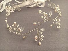 Romantic Bridal Hair Vine with Crystals and Pearls