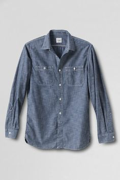 Guildsman Chambray Workshirt from Lands' End