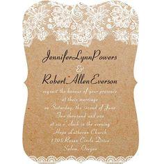 chic rustic lace bracket scallop wedding invitations EWIb270