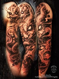 Black Shadows Tattoos arm, like the idea of crazy badass demons trying to tear out of my skin...inner demons? Eh