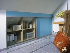 Contemporary storage organization, closets, shelving units and wall shelves, allow to design stylish and comfortable to use storage spaces under sloped roofs or stairs, and improve small room decorating Roof Storage, Ceiling Storage, Wall Storage, Wall Shelves, Small Room Decor, Small Rooms, Small Spaces, Slanted Walls, Slanted Ceiling