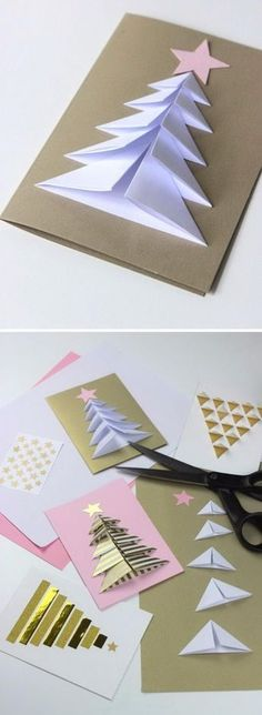 Handmade Christmas Card Ideas Many peoples spend lots of time and resources to make or acquire unique gifts for family and friends. But, accompanying them with the usual generic card is an Incredible Ideas for Christmas card: Folded Christmas tre Christmas Tree Cards, Easy Christmas Crafts, Homemade Christmas, Christmas Decorations, Christmas Ornaments, Christmas Cards Handmade Kids, Christmas Christmas, Christmas Ideas, Xmas Trees