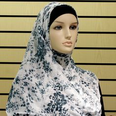 Hijab - Non Slip - White & Teal http://www.muslimbase.com/clothing/hijabs/long-hijab/hijab-slip-white-teal-p-7811.html