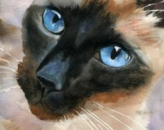 Siamese cat Art Print of a watercolor painting by Christy Freeman from etsy.com