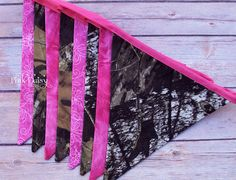 Fabric Pennant Banner. Hot Pink and Hunting Camo Bunting Banner. Custom Birthday, Photo Prop Banner. Girls Room, Home Decor. Mossy Oak Camo.