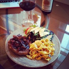 Williams Sonoma balsamic quick braised pork chops, pumpkin linguini ...