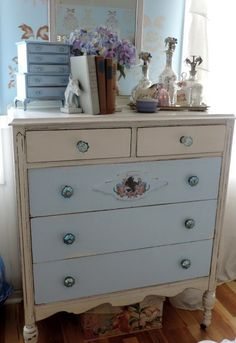 This simple Equine Inspired antique dresser update adds an elegant touch to a cottage style master bedroom and gives it vintage charm.