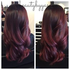 Red violet balayage ombre hair color by @beautybyyasuko