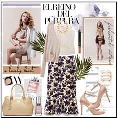 """""""Floral Print Fashion Trend:: The Tory Burch Kai Skirt"""" by fashiontake-out on Polyvore"""