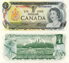 Canada one dollar note last printed in 1989 - good bye to paper, hello to coins Canadian Things, I Am Canadian, Canadian History, Money Notes, Canadian Dollar, Dollar Bill Origami, Old Money, One Dollar, Dollar Bills