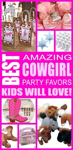 Best cowgirl party favor ideas that kids, tweens and teens will love. Try these simple diy cowgirl party favors for boys and girls. Here are some easy cowgirl party favors and more to say thank you to the children. Cowgirl Party Favors, Teen Party Favors, Party Favors For Kids Birthday, Party Invitations Kids, Party Favor Bags, Goody Bags, Birthday Ideas, Horse Birthday Parties, Cowgirl Birthday