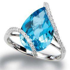 Topaz and Diamond Pear Dress Ring