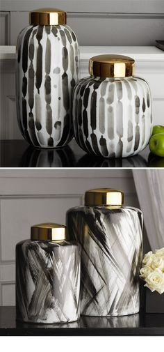 Black White Temple Jars and Vases | Porcelain | Ceramic | A Beautiful Design Trending in HOLLYWOOD at: www.instyle-decor.com/black-white-vases.html Enjoy