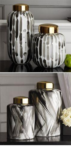 Black White Temple Jars and Vases   Porcelain   Ceramic   A Beautiful Design Trending in HOLLYWOOD at: www.instyle-decor.com/black-white-vases.html Enjoy