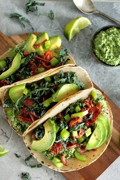 These simple Pulled Jackfruit Tacos with green pesto are perfect for a Mexican night, or as a quick dinner on any weeknight. Vegan + GF