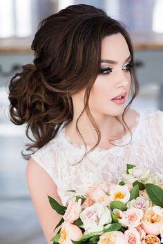 Wedding Hairstyles Updo Bridal Hairstyles : 30 Elegant Wedding Hairstyles For Stylish Brides See more: www.weddingforwar - [ Bridal Hairstyles : 30 Elegant Wedding Hairstyles For Stylish Brides ❤ See more: www. Curly Wedding Hair, Elegant Wedding Hair, Wedding Hair And Makeup, Bridal Makeup, Hair Makeup, Makeup Hairstyle, Hairstyle Ideas, Wedding Bride, Wedding Venues