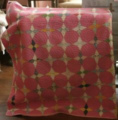 1920's Snowball pattern applique hand stitched quilt