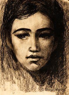 """Portrait of Young Girl"" charcoal 1981 © Shijun Munns Girl Sketch, Oil Painters, Portrait Art, Figure Painting, Sketchbooks, Exhibit, Figurative, Mona Lisa, Charcoal"