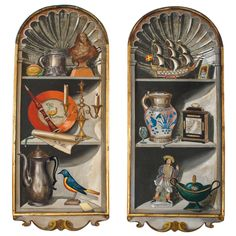 """Pair of Palladio """"Trompe D'oeil"""" Hand Painted Wood Panels Painting Wood Paneling, Decorative Wall Panels, Colorful Artwork, Red Walls, Hand Painted, Painted Wood, Interior Walls, Art Techniques, Art Decor"""