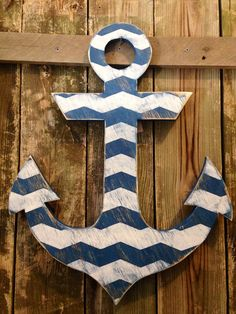 Large distressed navy and white chevron wood anchor sign photo prop home decor wall art on Etsy, $44.00