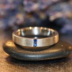 Mens Sapphire Wedding Band in 14k White Gold 4mm by LaMoreDesign, $786.00