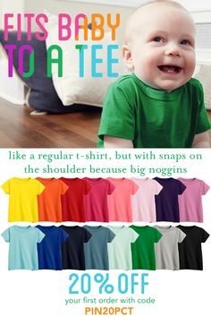 Our super soft baby tee is everything that's great about our top selling babysuit, now in t-shirt form. Collect all 19 colors in super soft cotton, and enjoy 20% off your first order with code PIN20PCT!