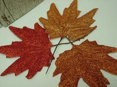Glittered dollar store leaves