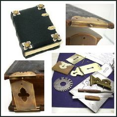Good instructions and ideas on how to make hinges and clasps for journals and 3 section alters