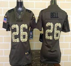 womens pittsburgh steelers jersey 26 leveon bell green salute to service 2015 nfl nike limited jerseys