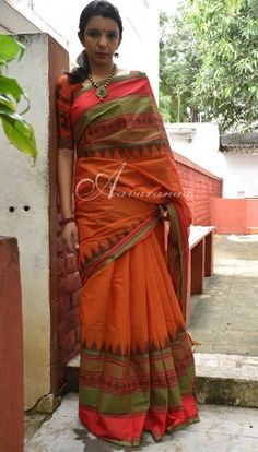 Orange, red & green Kanchi Cotton