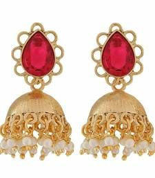 Buy Plush Pink White Stone Crystals Festival Jhumki Earrings jhumka online