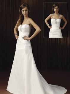 2014 Style A-line Halter Ruffles Sleeveless Court Trains Taffeta Wedding Dresses For Brides