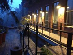 A misty morning on our terrace deck.