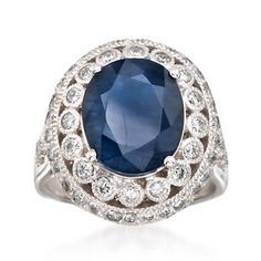 6.20 Carat Sapphire and And 1.35 ct. t.w. Diamond Ring in 14kt White Gold