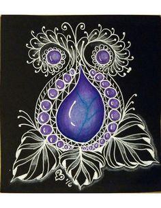 tangle on black paper - Ecosia Gem Drawing, Black Paper Drawing, Pencil And Paper, Tangle Doodle, Tangle Art, Zen Doodle, Zentangle Drawings, Doodles Zentangles, Henna Patterns