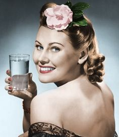 Water Advertisement. (Colorized Photo).
