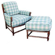 blue buffalo check-- chair and ottoman