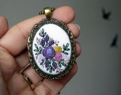 Embroidered Gold Roses necklace vintage style pendant Gift