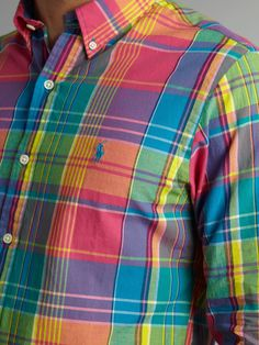 Polo ralph lauren Slim Fit Bright Plaid Shirt in Multicolor for . Camisa Ralph Lauren, Ralph Lauren Hombre, Cheap Ralph Lauren Polo, Ralph Lauren Slim Fit, Ralph Lauren Style, Polo Shirt Outfits, Swag Outfits Men, Polo T Shirts, Stylish Shirts