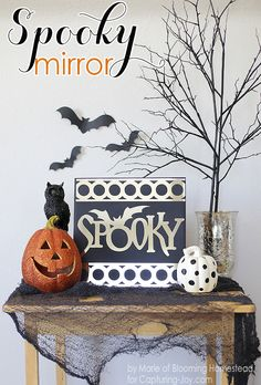 "Super easy tutorial to make this ""Spooky Mirror""! - great DIY idea for decorating your home or mantel for Halloween KristenDuke.com"