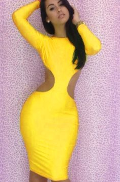 879afa1a03a7 Missguided Farera Long Sleeve Cut Out Embellished Bodycon Dress in Yellow  Midi Dress, Club Dresses
