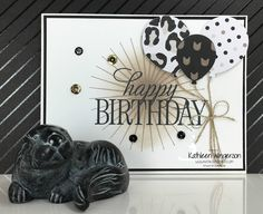Stampin' Up! Kinda Eclectic and Balloon Bouquet punch masculine birthday card by Kathleen Wingerson. Supplies and additional details available online www.kathleenstamps.com