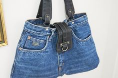 UNIQUE / Blue Jean with Black Leather Recycled by SpecialFabrics