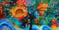 Abstract Art Bold Colorful Landscape Painting Halo Of Fire By Madart by Megan Duncanson Rose Oil Painting, Realistic Oil Painting, Oil Painting Techniques, Painting Trees, Landscape Art, Landscape Paintings, Fire Art, Colorful Paintings, Canvas Wall Art