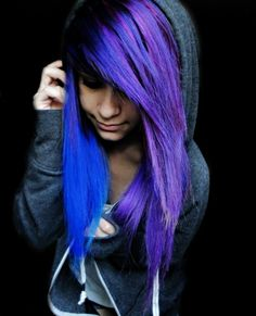 neon blue purple black hair