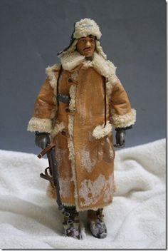 SOLDADO ALEMANES CON UNIF. DE INVIERNO WWII Figura Articulada Escala 1/10 Madelman custom