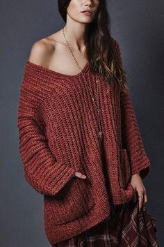 Oversize Burgundy Raglan Sleeve Pocket Front Plunge Sweater - US$33.95 -YOINS