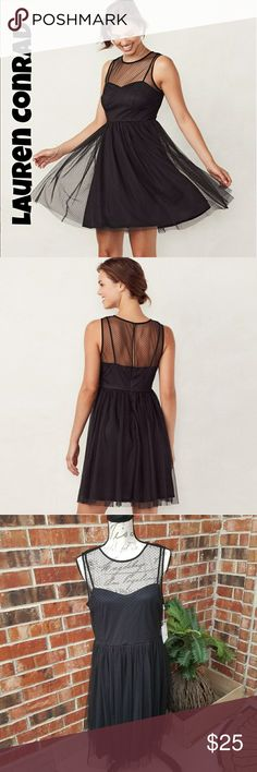 🌹NWT Lauren Conrad Tulle Flocked Black Dress 🌹I'm currently running an additional sale. See listing at the top of my closet for details.🌹  This is new with tags. It's absolutely adorable! It has a loose, comfortable fit. It's black with a sheer top and zips up the back. It's a size 12 and runs true to size. LC Lauren Conrad Dresses